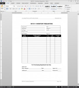 Inventory Requisition Template