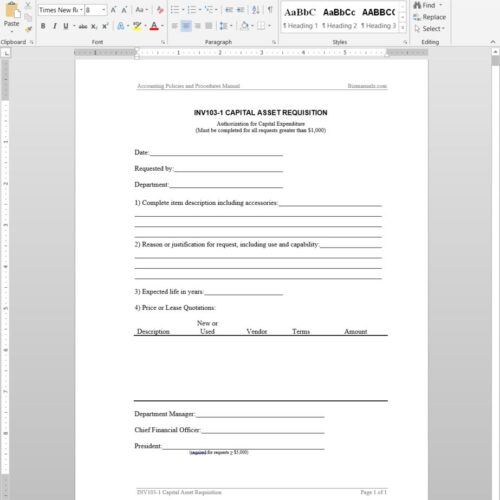 Capital Asset Requisition Template