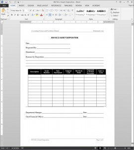 Asset Disposition Report Example