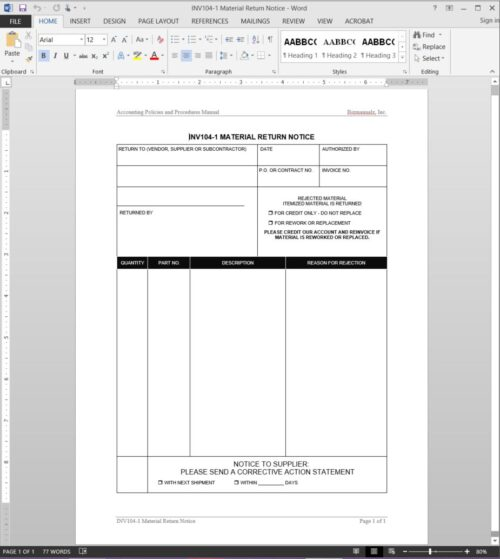 Material Return Notice Template