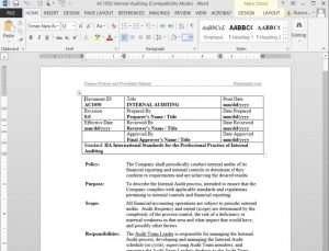 Finance Policies Procedures Manual - Internal Audit Procedure
