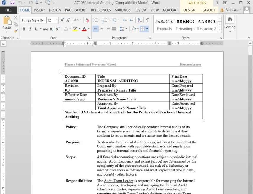 Bizmanualz  Free Standard Operating Procedure Template Word