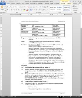 MFG102 Bill of Materials Procedure