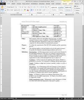 MFG105 ISO Compliance Procedure