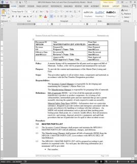 MFG106 Master Parts List Files Procedure