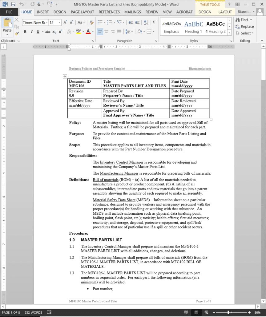 Master Parts List Files Procedure