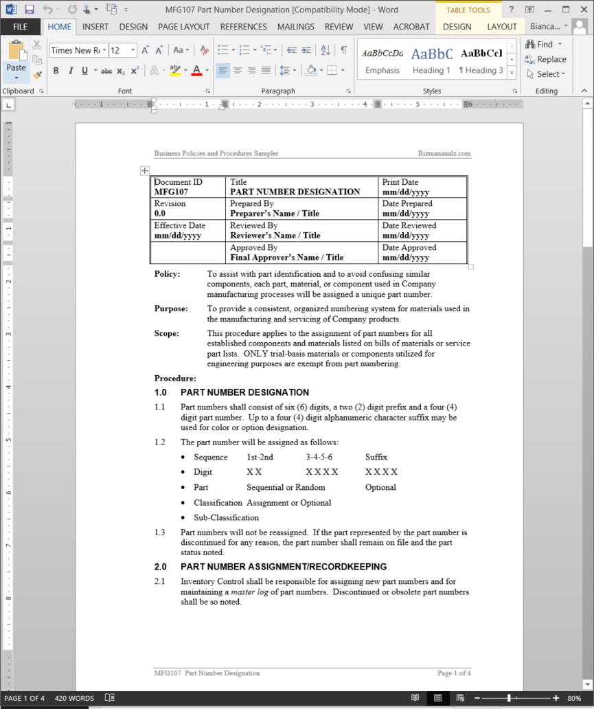 Part Number Designation Procedure