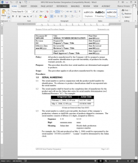 MFG108 Serial Number Designation Procedure