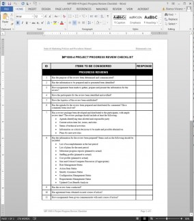 MP1000-4 Project Progress Review Checklist