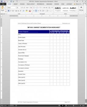 MP1030-1 Market Segmentation Worksheet