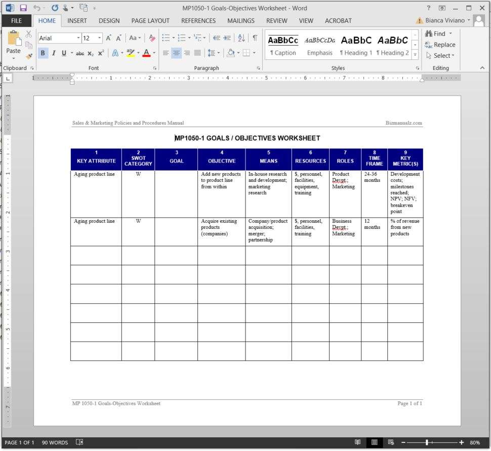 Goals objectives worksheet template add to wishlist wajeb Images