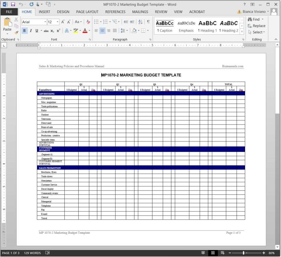 Marketing Budget Worksheet Template