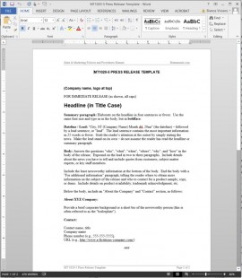 MT1020-5 Press Release Template