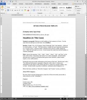 MT1020-5 Press Release Template