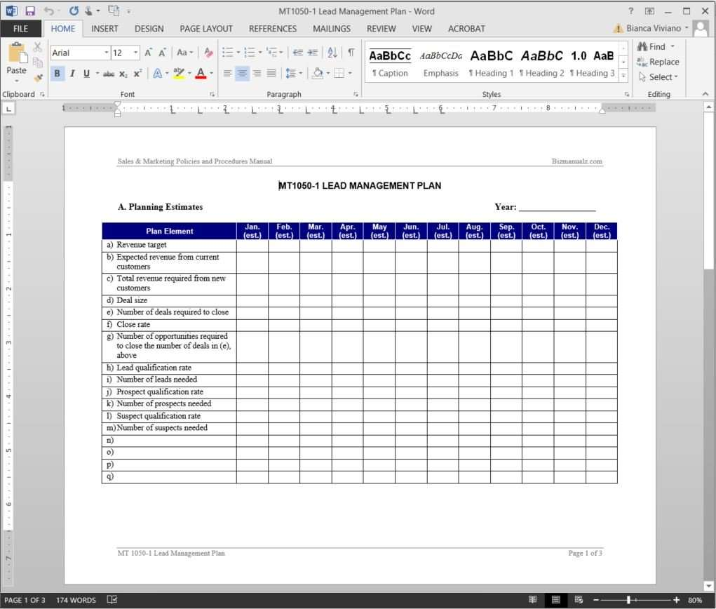 Lead Management Plan Template