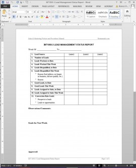 MT1050-3 Lead Management Status Report