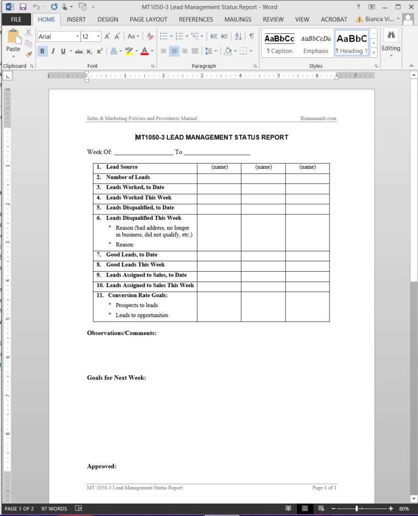 Lead Management Status Report Template