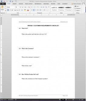 PM1040-1 Customer Requirements Checklist