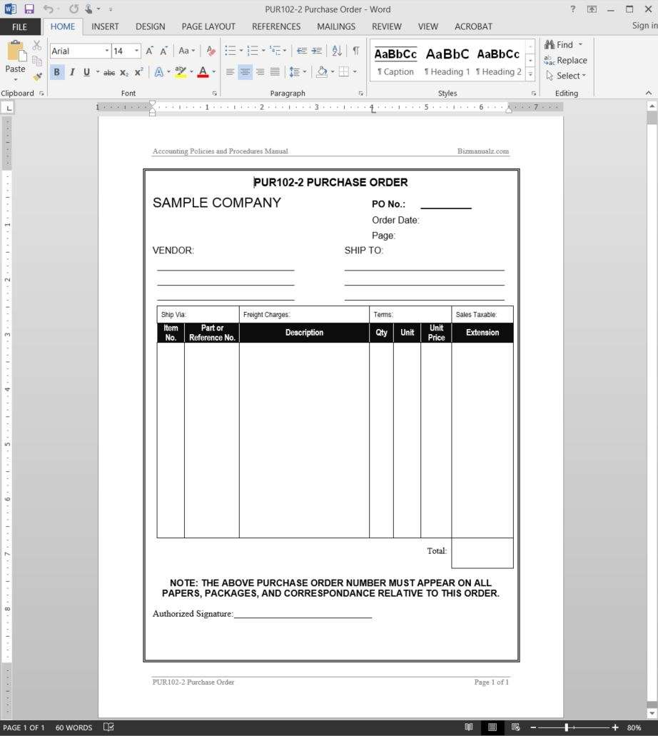 Purchase order template for Purchasing policies and procedures template