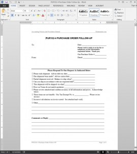 Purchase order follow up request template for Purchasing policies and procedures template