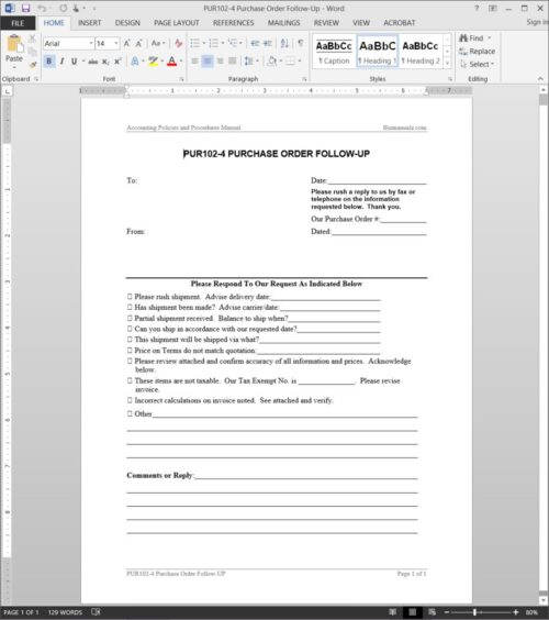 Purchase Order Follow-Up Request Template