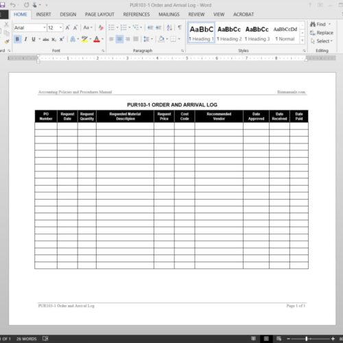 Purchase Order Arrival Log Template