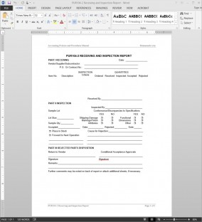 Receiving Inspection Report Template
