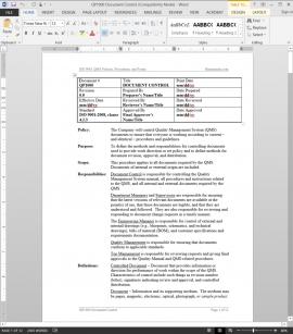 QP1000 ISO Document Control Procedure