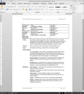 QP1020 ISO Internal Audits Procedure