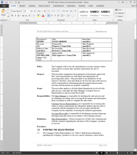 QP1080 ISO Sales Orders Procedure