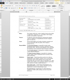 QP1120 ISO Supplier Evaluation Procedure