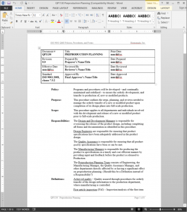 QP1130 ISO Preproduction Planning Procedure