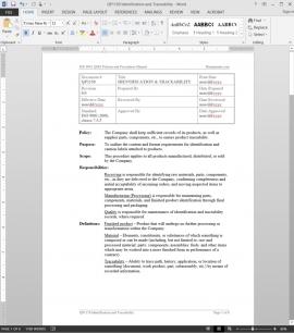 QP1150 ISO Identification Traceability Procedure