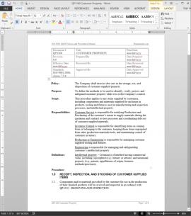 QP1160 ISO Customer Property Procedure