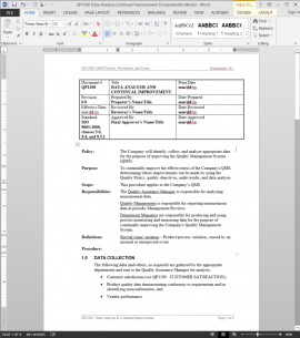 QP1200 ISO Data Analysis-Continual Improvement Procedure