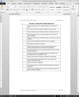 Loan Application Checklist RC1030-1