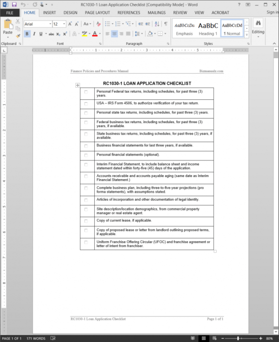 Loan application checklist template for Loan processing checklist template