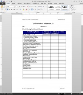 RC1040-1 Stock Offering Plan Template