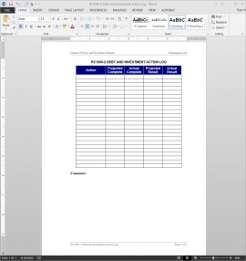 RC1050-2 Debt Investment Action Log Template