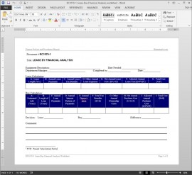 RC1070-1 Lease-Buy Financial Analysis Worksheet Template