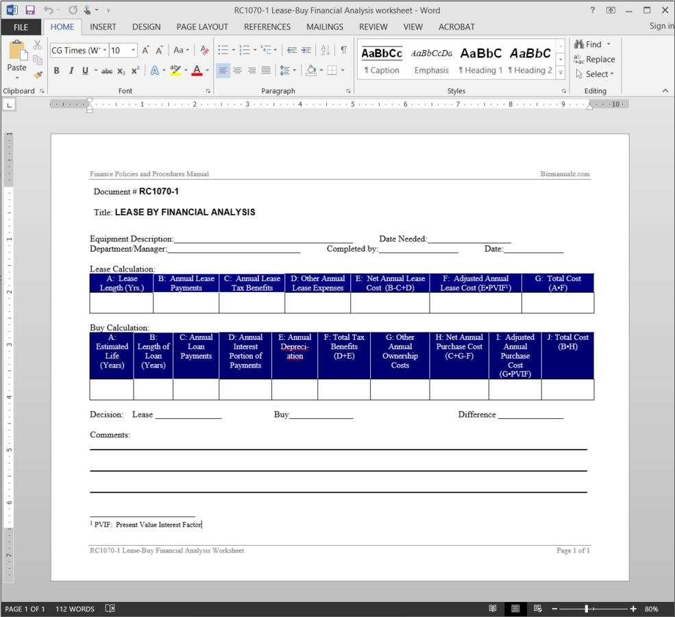worksheet Lease Worksheet lease buy financial analysis worksheet template add to wishlist