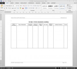 RC1080-1 Stock Issuances Journal Template