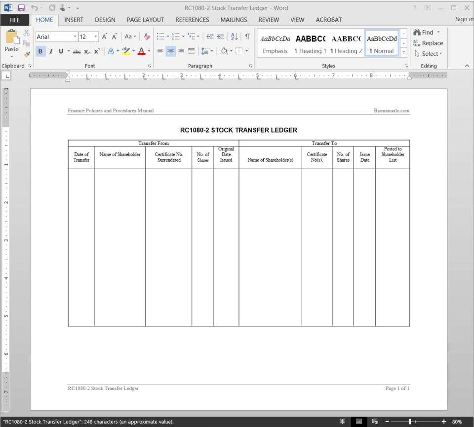 Stock Transfer Journal Template - Corporate stock ledger template