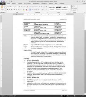 RC1080 Stock Transactions Procedure