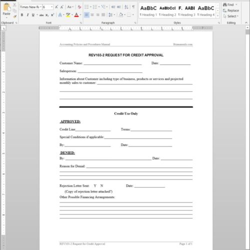 Credit Approval Request Template