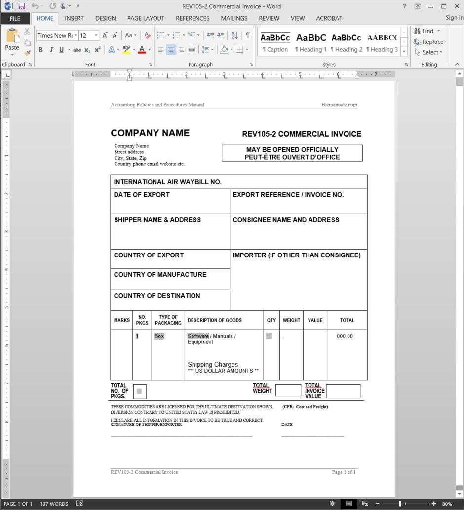 Commercial Invoice Template – Commerical Invoice Template