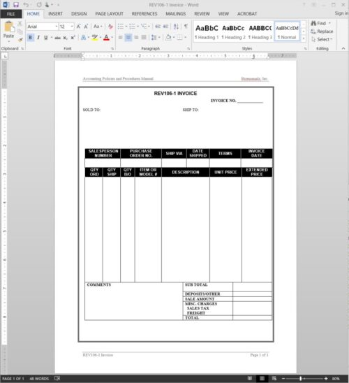 Commercial Invoice Example