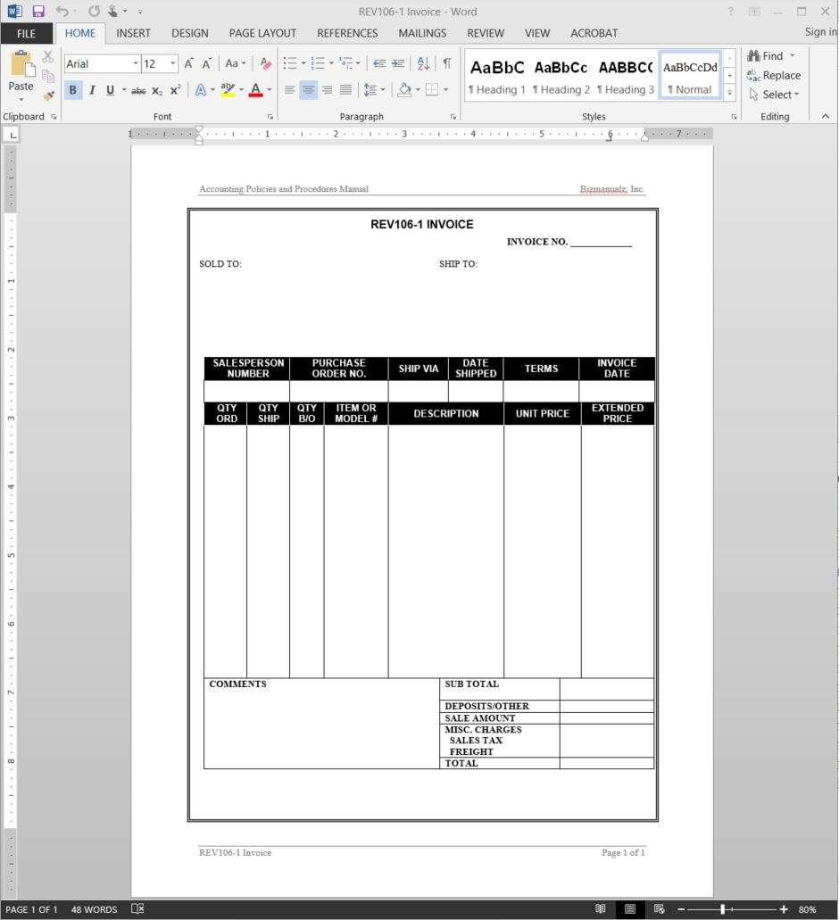 Invoice Template - Manual invoice template