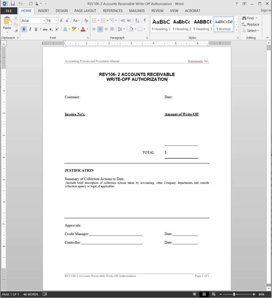 accounts receivable template for write offs bizmanualz