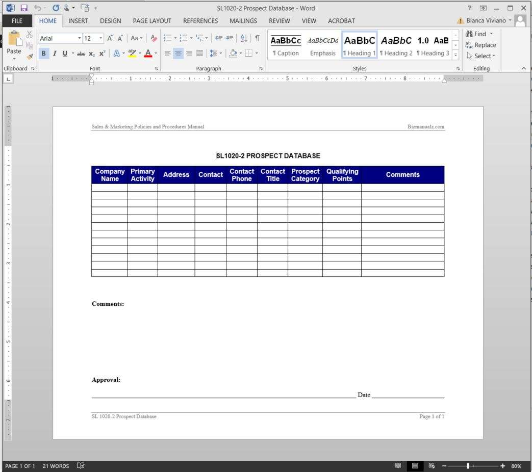 template for database